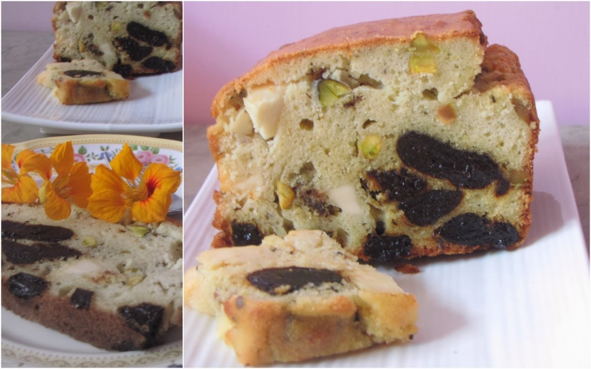Savoury Cake With Prunes, Pistachios & Cheese
