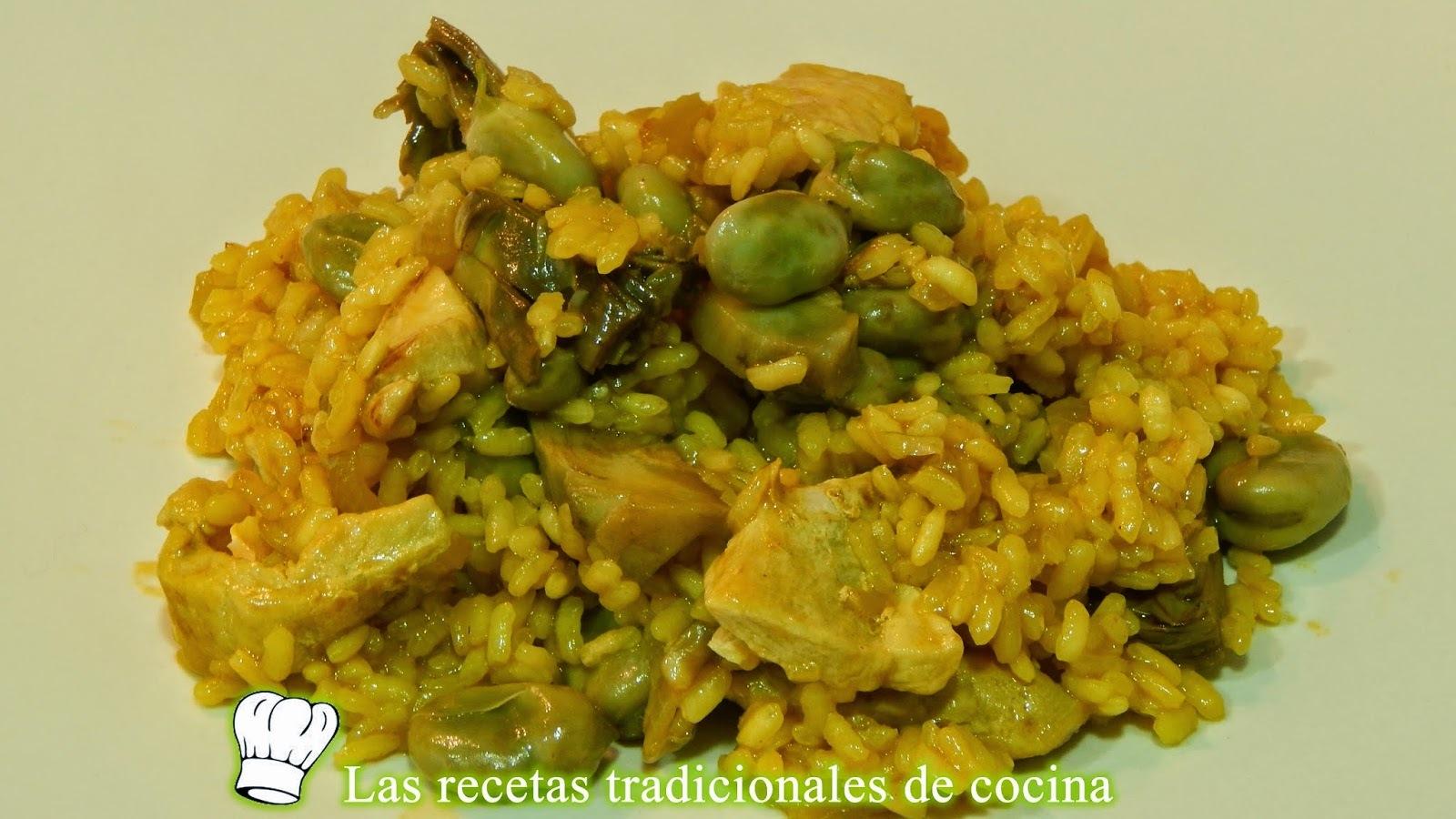 Receta de arroz con pollo, alcachofas y habas