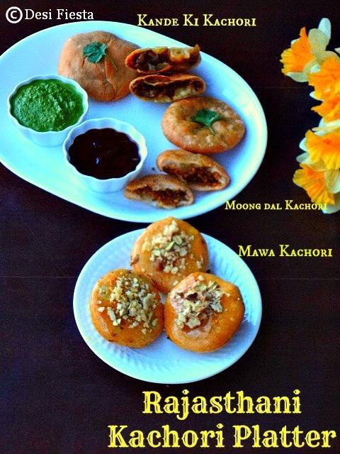 Rajasthani Kachori Platter |Rajastahni Kachori |Onion Kachori|Mawa Kachori |Moong dal Kachori