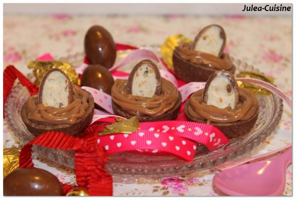 Tartelettes cacao, ganache chocolat Kinder et caramel {Paques}