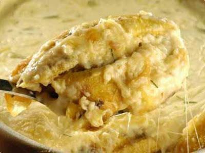 de peixe ao forno com batata e molho branco