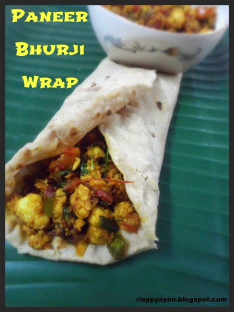 Paneer Bhurji Wrap or Scrambled Cottage Cheese Wrap