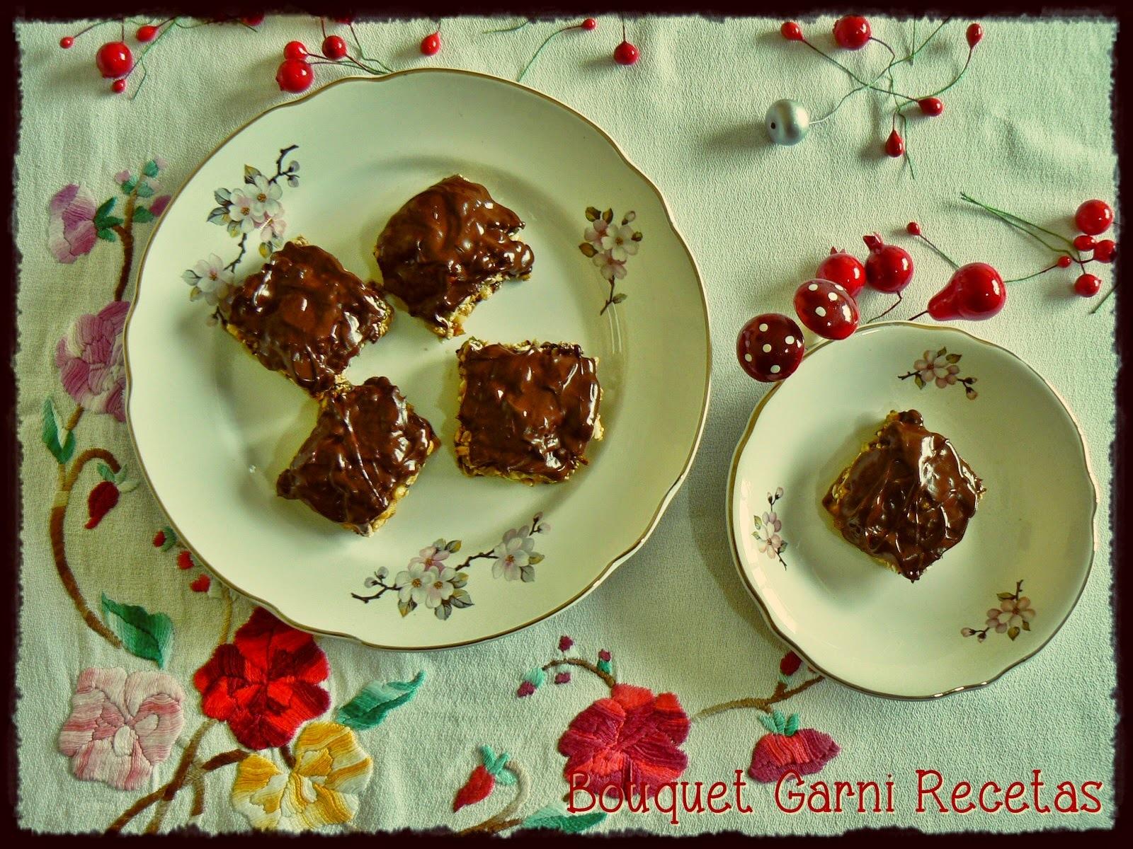 Receta de Navidad. Turrón especiado de granola/muesli y chocolate