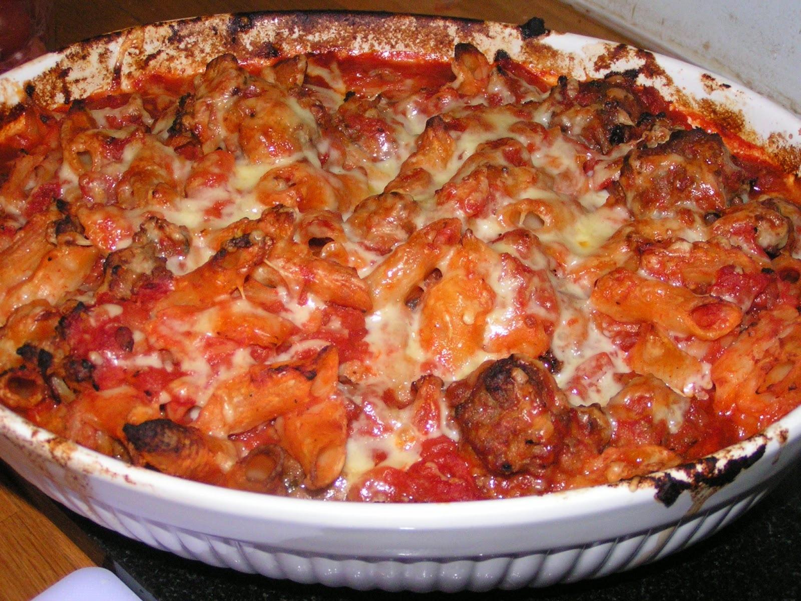 Sausage meatball pasta bake - the answer to bulk child feeding