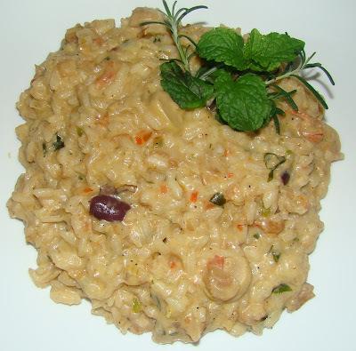 risoto de camarao com arroz arbóreo e creme de leite