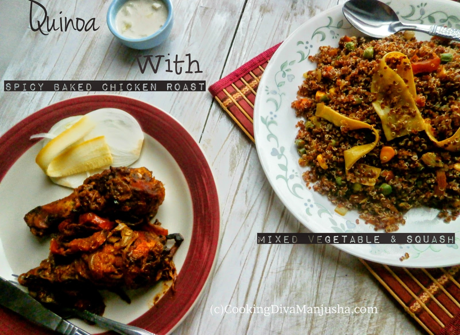 Quinoa with mixed vegetables,squash ribbons & spicy baked chicken drumsticks Roast