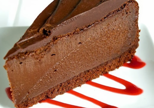 Chocolate cheese cake slice