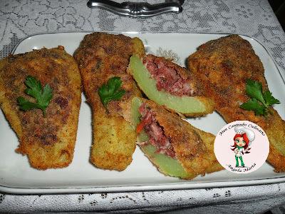 Chuchu empanado recheado com carne seca PAINEIRA
