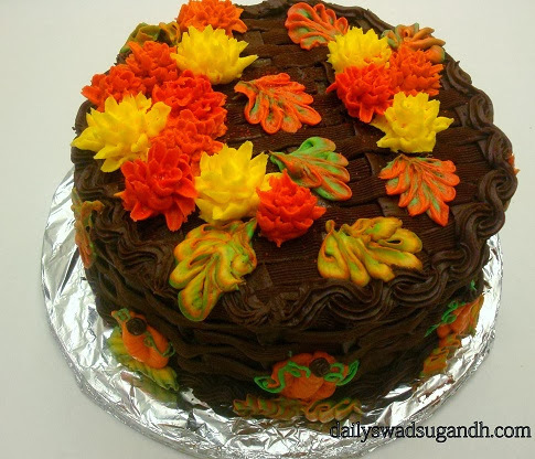 Chocolate Buttermilk Cake with chocolate frosting~basket weave