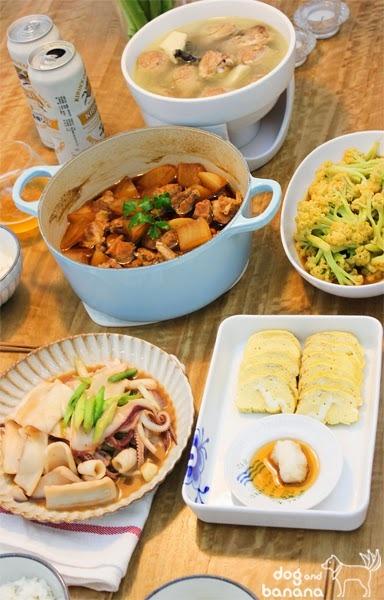 微日式晚餐-蒜苗炒味磳透抽、玉子燒……