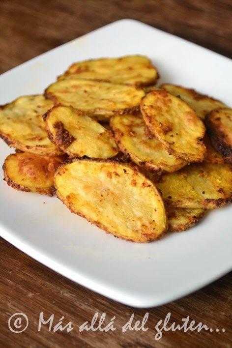 """Papas """"Fritas"""" al Horno (Receta GFCFSF, Vegana)"""