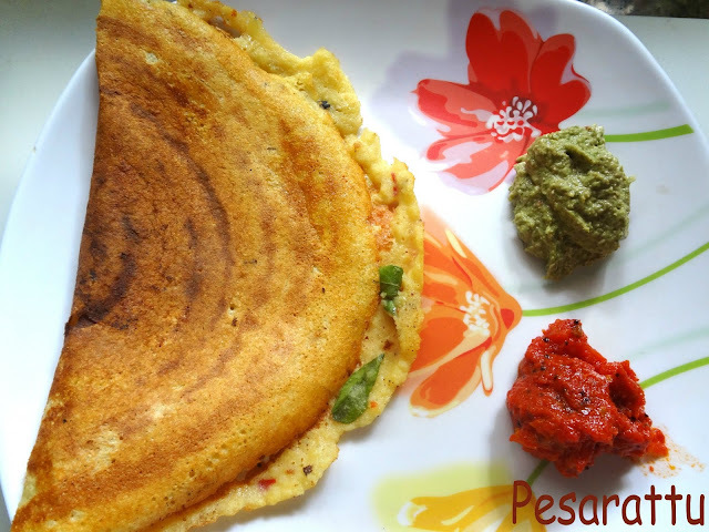 Traditional Indian Flatbread made from whole green gram batter (Pesarattu)