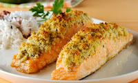 salmão com manteiga de garrafa
