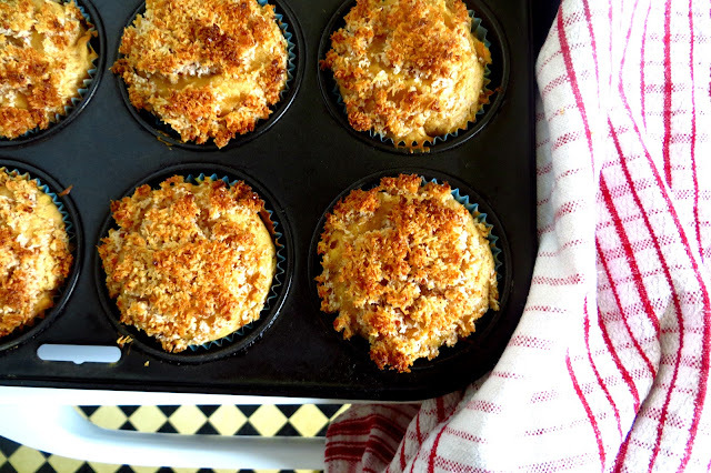 peanut butter muffins with coconut crumble