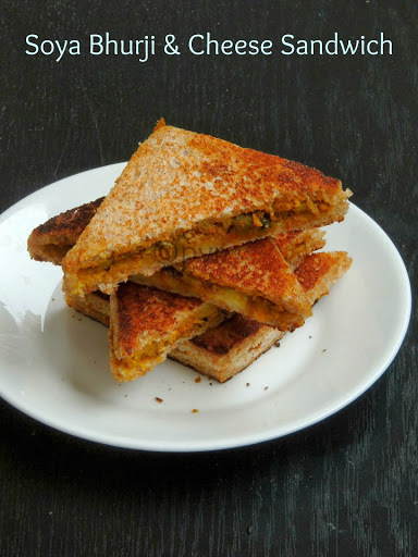 Soya Bhurji & Cheese Sandwich