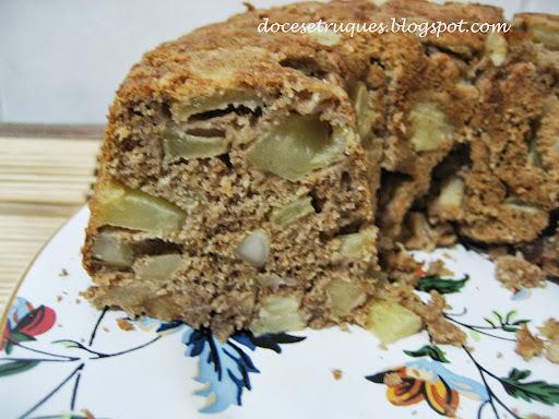 bolo de banana e maça com aveia farinha integral e adoçante