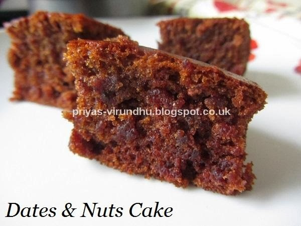 Dates & Nuts Cake [Egg less & Butter less]