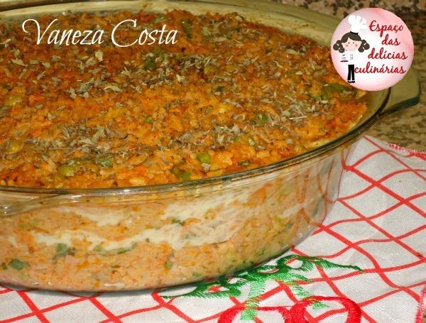 arroz de forno com frango desfiado queijo e presunto