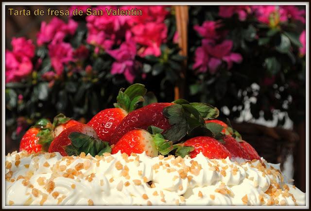 Tarta de fresas de San Valentín.