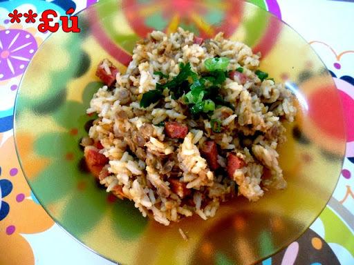 arroz com lentilha calabresa e bacon