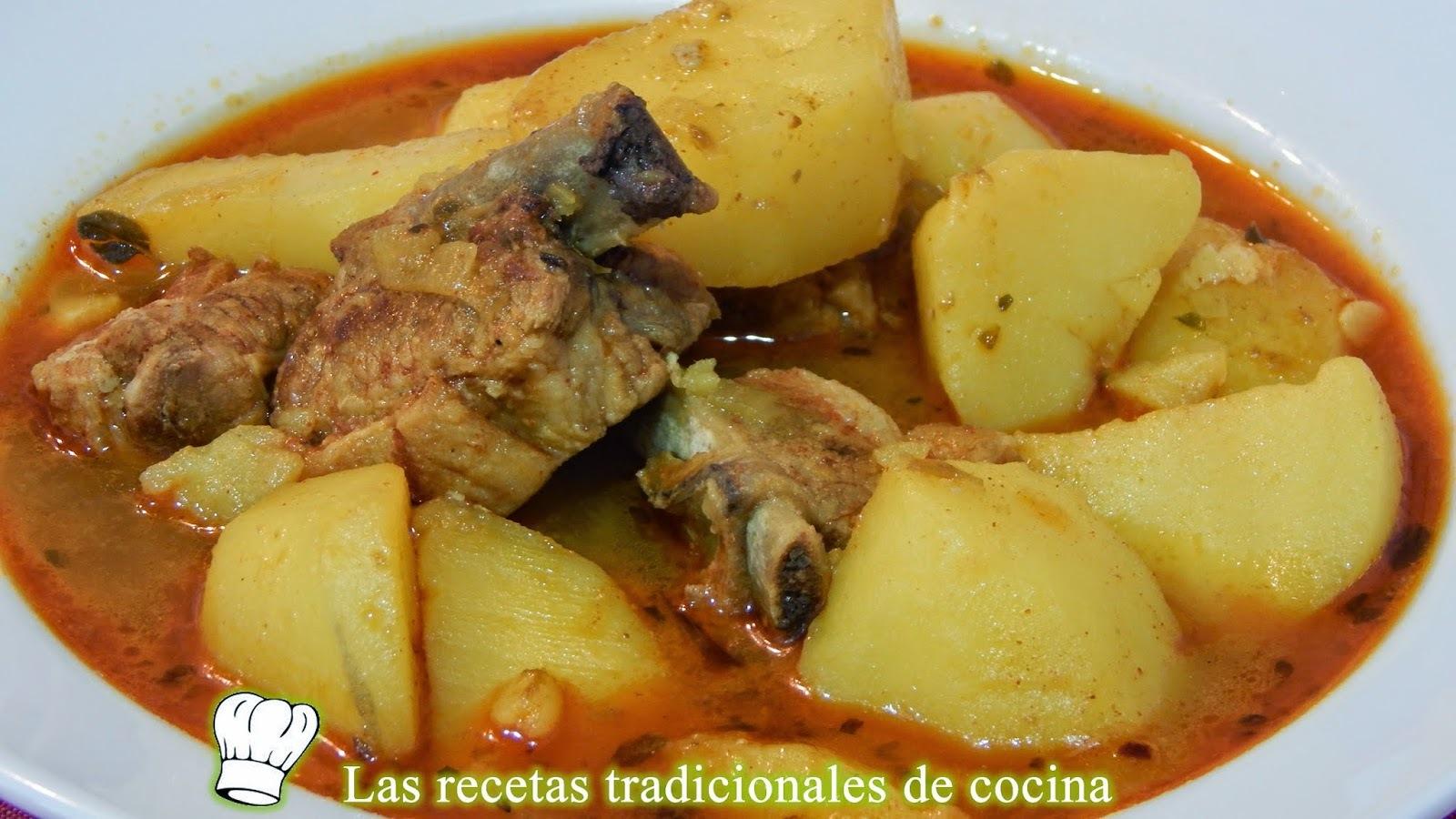 guisado de patatas con costillas adobadas receta fácil