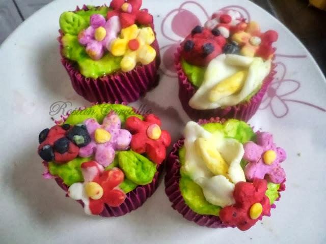 Cupcakes de baunilha Jardim Encantado