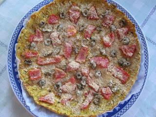 pizza com a massa de okara