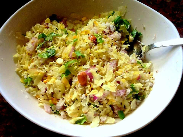 Avalakki Upkaari...Udupi cuisine..( flattened rice, beaten rice poha )
