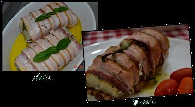 Bacalhau enrolado no bacon com alecrim