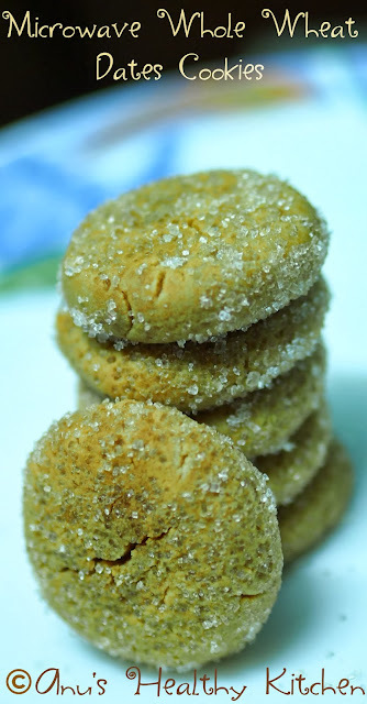 MICROWAVE Eggless Whole Wheat Dates Cookies - HAPPY NEW YEAR 2014