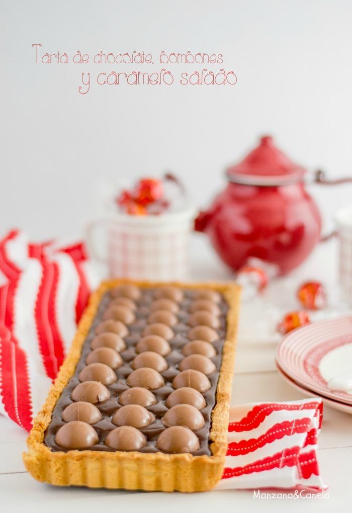 Tarta de chocolate, bombones y caramelo salado. Un San Valentín sin corazones!