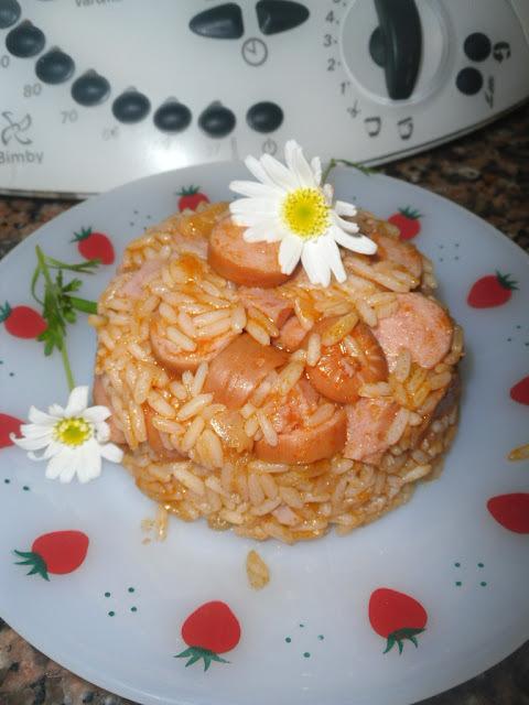 Arroz de salsichas e néctar de laranja- Receita Bimby e tradicional