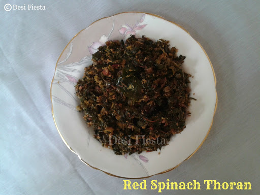 Red Spinach Thoran (Come On - Lets Cook Buddies) Entry 47