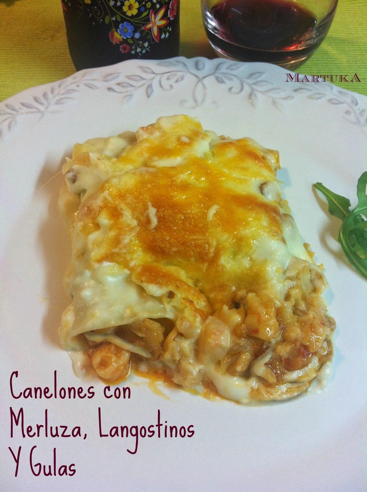Canelones De Merluza, Langostinos Y Gulas