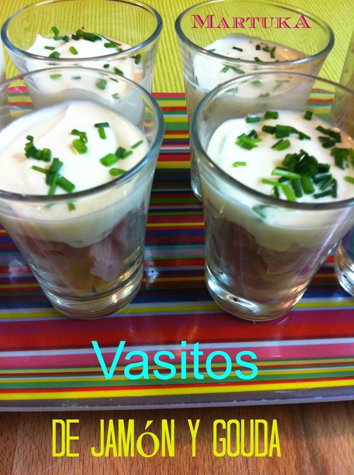 Vasitos De Jamón Dulce, Gouda Y Salsa De Yogur