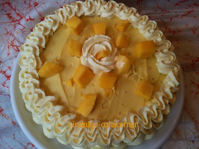 Mango Cake with Mango White Choc frosting