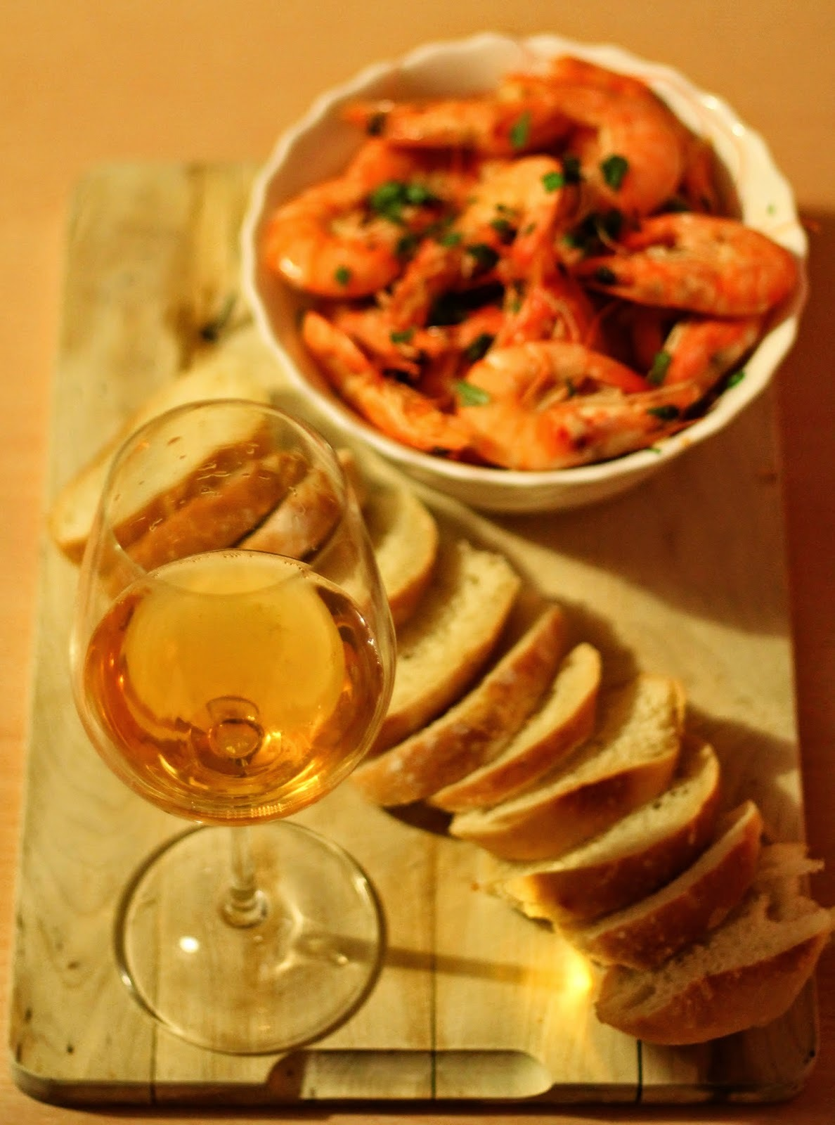 Krevety s česnekem, chilli a ciderem