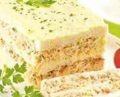 Torta de pao de forma com frango e legumes