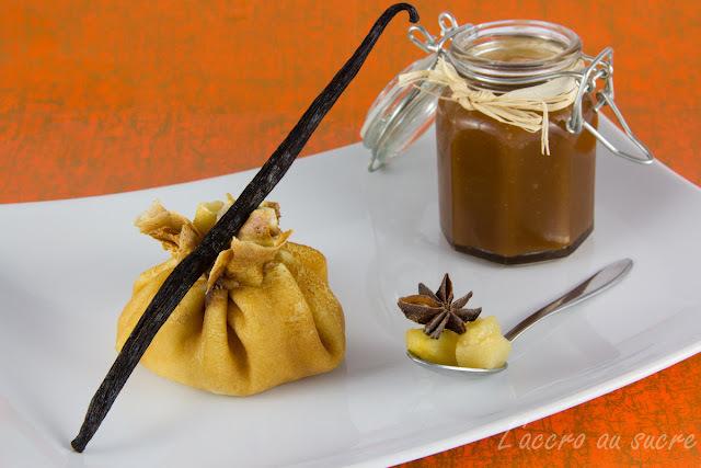Aumonière de crêpes pommes/ poires sauce caramel au beurrre salé maison!