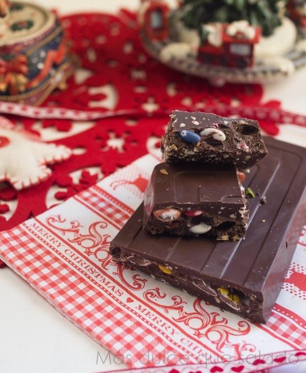 Turrón de chocolate con Peta Zetas y Lacasitos