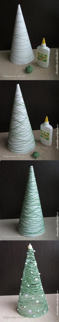 Como fazer uma Árvore de Natal com Fios, ou Papelão e Pirulitos