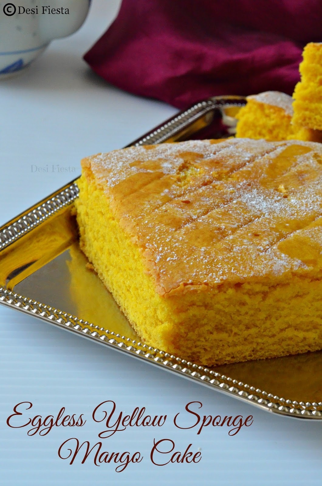 Eggless Yellow Sponge Mango Cake