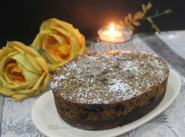 Chocolate Cake with Almond and Cranberry layer