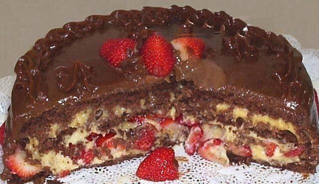 Torta de Morango com Bombom