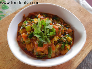 Spring Onion & Tomato Curry-Indian Gujarati Food and Recipes