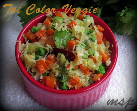 Cabbage Peas Carrot Poriyal
