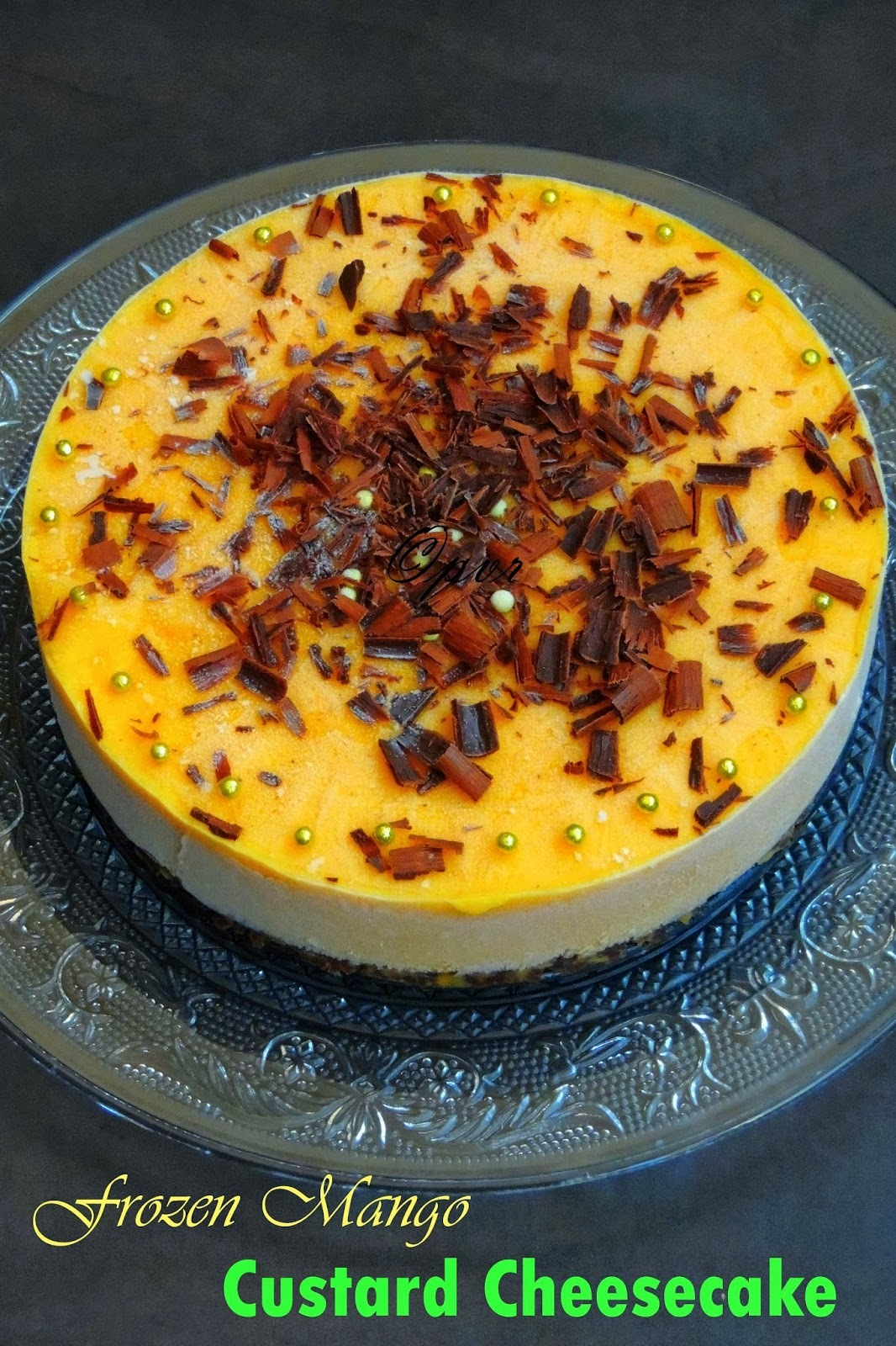 Eggless No Bake Frozen Mango Custard Cheesecake