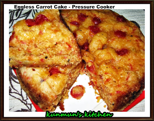 EGG LESS CARROT CAKE IN PRESSURE COOKER
