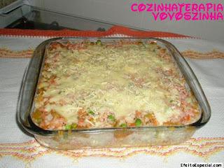 arroz de forno legumes e presunto e queijo