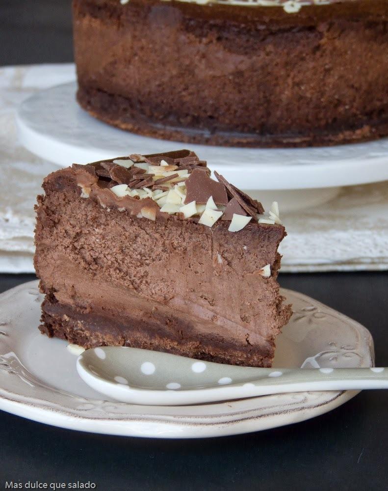 Tarta de queso y chocolate negro para los #asaltablogs